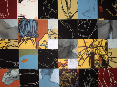 """Details III"": Collage (Block Prints, Etchings & Drawings), 24.75"" x 17.5"" x 1"""