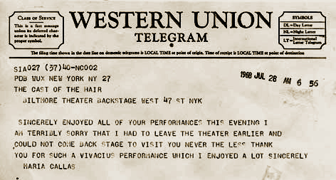 Madame Callas Telegram