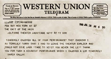 Madame Callas Telegram